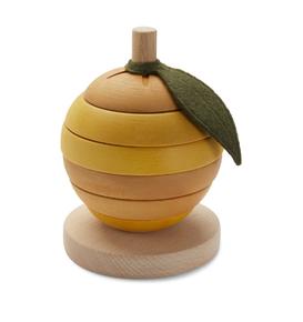 Cube empilable Citron en bois Jaune citron Konges Sløjd